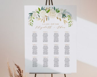Seating Chart Template, Printable Bridal Shower Seating Sign, Cream Florals & Gold, Instant Download, Editable Text, Templett #021-236SC