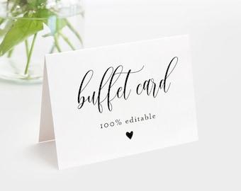 Minimalist Buffet Card Template, Food Label, Modern Script Wedding Printable, Instant Download, 100% Editable Text, Templett #008-109BC