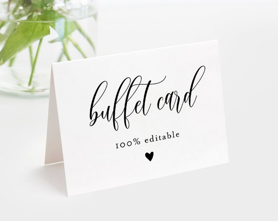 Minimalist Buffet Card Template, Food Label, Modern Script Wedding Printable, Instant Download, 100% Editable Text, Templett #008-109BC