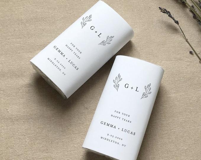 Happy Tears Tissue Wraparound, Editable Minimalist Wedding Pocket Tissue Favor Template, Printable, Instant Download, Templett #095B-105PT
