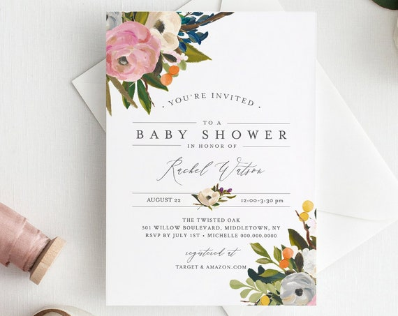 Baby Shower Invitation Template, Printable Summer Greenery Baby Shower Invite, 100% Editable Text, Instant Download, Templett #054-128BA