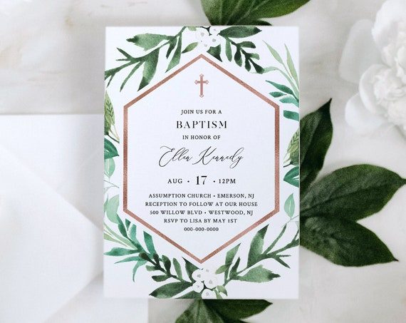 Printable Baptism Invitation, Greenery & Rose Gold Christening Invite, Neutral, INSTANT DOWNLOAD, 100% Editable Text, Templett #080-109BC