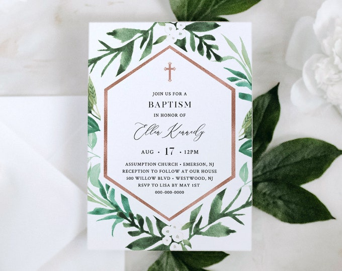 Printable Baptism Invitation, Greenery & Rose Gold Christening Invite, Neutral, INSTANT DOWNLOAD, 100% Editable Text, Templett #080A-109BC