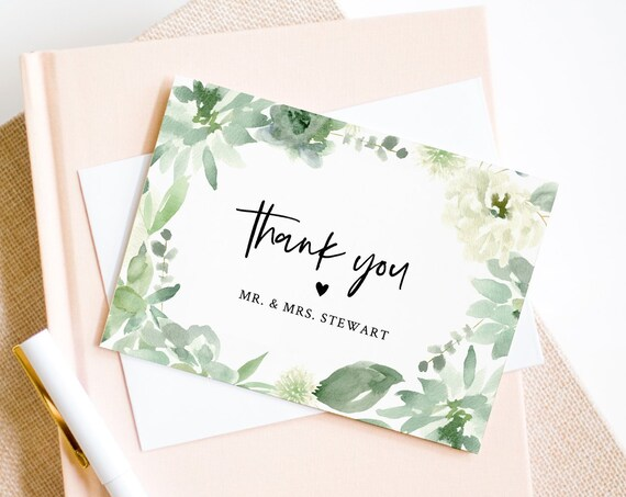 Thank You Note Card Template, Printable Watercolor Succulent Wedding / Bridal Shower Folded Card, INSTANT DOWNLOAD, Editable #075-119TYC