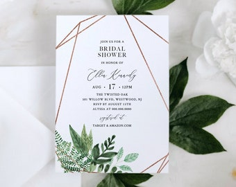 Greenery Bridal Shower Invite, Rose Gold Geometric Frame, Couples Shower Invite Template, 100% Editable Text, Instant Download #080B-230BS