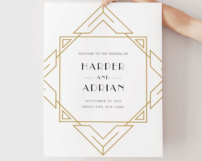 Art Deco Welcome Sign, Printable Minimal Retro Wedding or Bridal Shower Sign, Instant Download, Editable Template, Templett #0021-232LS