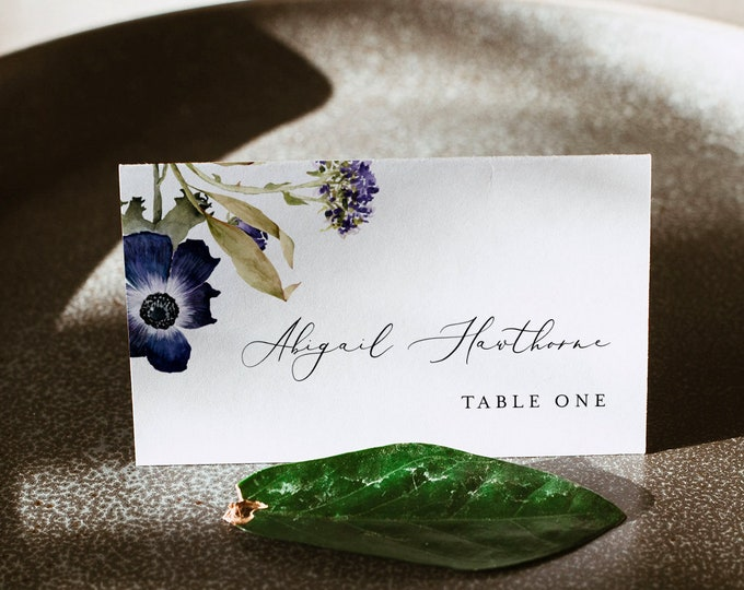 Place Card Template, Printable Fall / Winter Wedding Escort Card with Meal Option, Anemone, INSTANT DOWNLOAD, Editable, Templett #0014-173PC