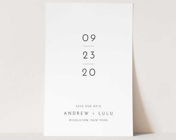 Modern Save the Date Template, 100% Editable Text, Minimalist Simple Wedding Date, DIY, Templett, Digital, Instant Download #094-165SD