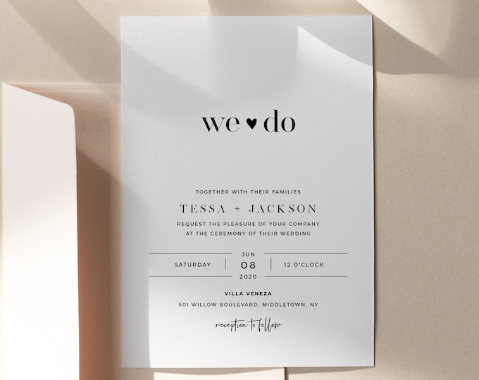 Modern Wedding Invitation Suite, Minimalist, We Do, 100% Editable Template, INSTANT DOWNLOAD, Invite, RSVP, Details Card, Templett #088C