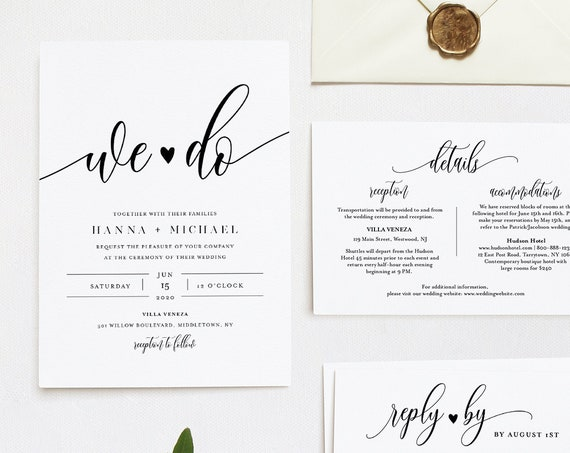 We Do Wedding Invitation Suite, Modern Calligraphy, Minimalist, Editable Template, INSTANT DOWNLOAD, Invite, RSVP, Details, Templett #008A