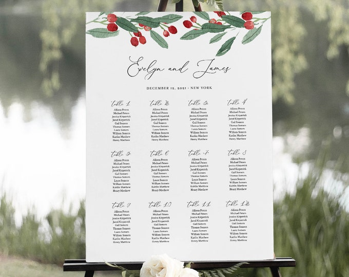 Holly Wedding Seating Chart Template, Printable Winter Seating Sign Poster, 100% Editable Text, Instant Download, Templett #071-278SC