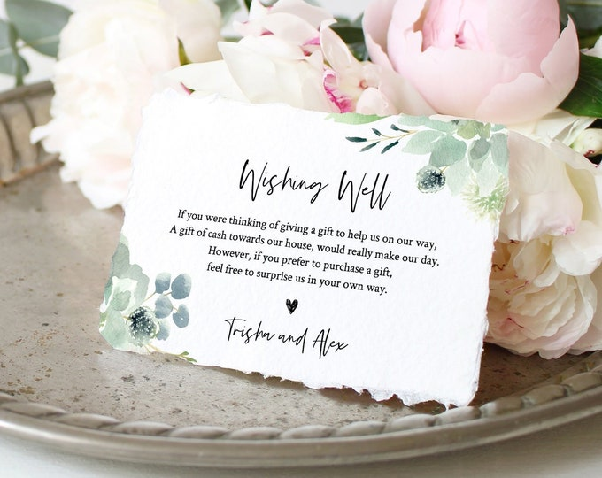 Wishing Well Card Template, 100% Editable, Honeymoon Fund Card, Succulent Greenery Wedding, Enclosure Card, INSTANT DOWNLOAD #075-128EC