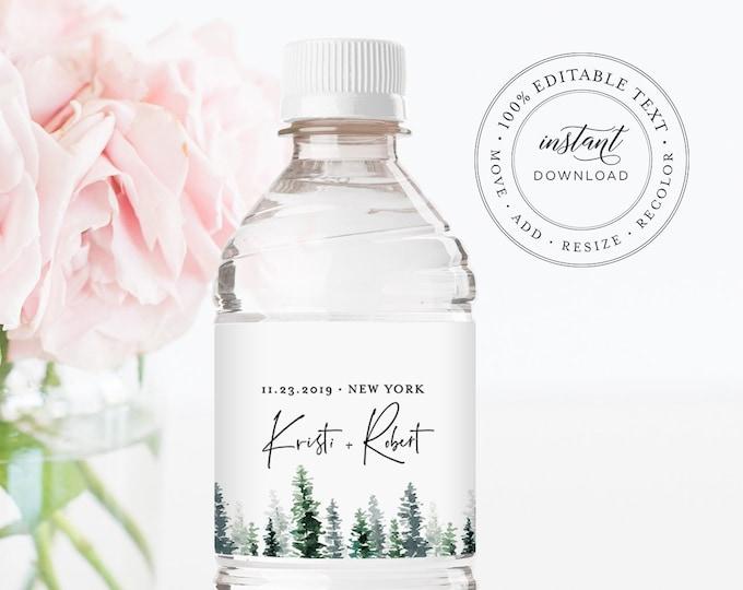 Pine Tree Water Bottle Label Template, 100% Editable Text, Winter Wedding Favor, Custom Bridal Shower Favor, INSTANT DOWNLOAD #073-110BL