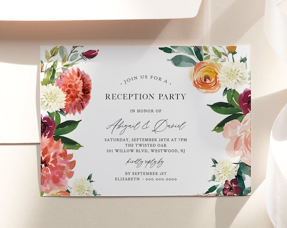 Reception Party Invitation, Burnt Orange Floral Wedding Reception, Editable Template, Printable Elopement Invite, Instant Download 002-113WR