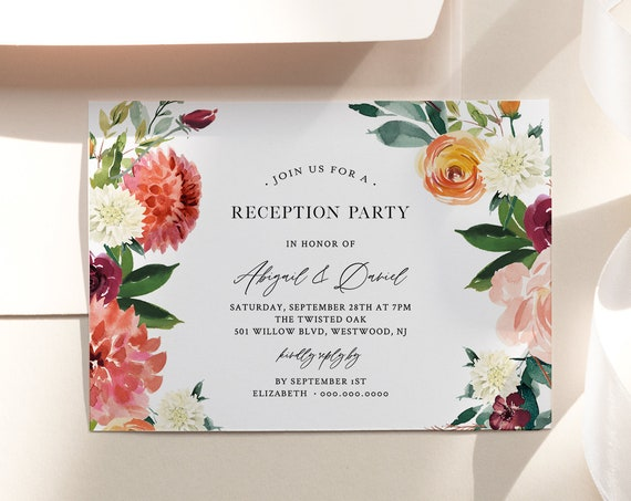 Reception Party Invitation, Burnt Orange Floral Wedding Reception, Editable Template, Printable Elopement Invite, Instant Download 002-113WR