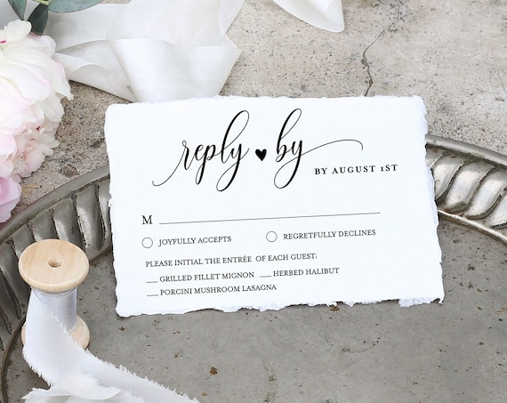 RSVP Card Template, Printable Wedding Response Card, Printable Reply Card, Calligraphy, 100% Editable, INSTANT DOWNLOAD, Templett #008rsvp