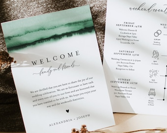 Watercolor Welcome Letter & Timeline Template, Minimalist Wedding Order of Events, Itinerary, INSTANT DOWNLOAD, Editable Text #093C-144WB