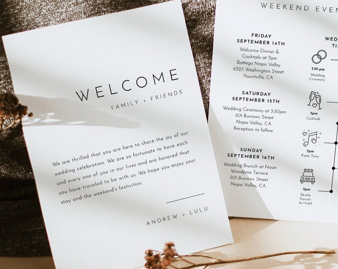 Modern Welcome Letter & Timeline Template, Minimalist Wedding Order of Events, Itinerary, INSTANT DOWNLOAD, 100% Editable Text #094-141WB