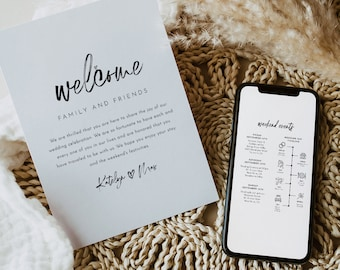 Handwritten Script Welcome Letter & Timeline Template, Modern Wedding Order of Events, Itinerary, INSTANT DOWNLOAD, 100% Editable #090-169WB