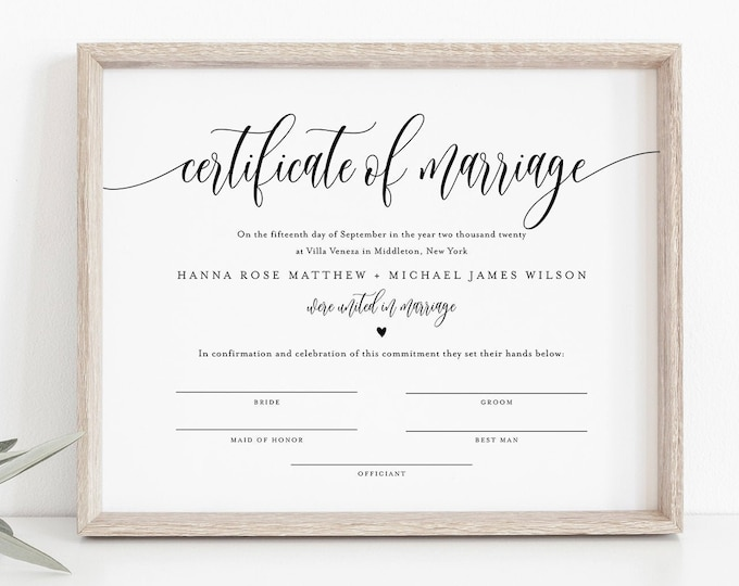 Certificate of Marriage, Minimalist Wedding Certificate, Wedding Keepsake, 100% Editable Text, Instant Download, 8x10, 16x20 #008-104MC