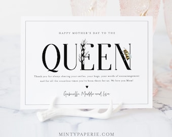 Queen Bee Mother's Day Card, Printable Funny Mothers Day Template, Personalize, Editable Template, Instant Download, Templett, 5x7 #107MDC