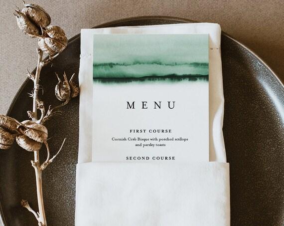 Emerald Watercolor Wedding Menu Template, INSTANT DOWNLOAD, Printable Modern Dinner Menu Card, 100% Editable Text, Templett #093C-172WM