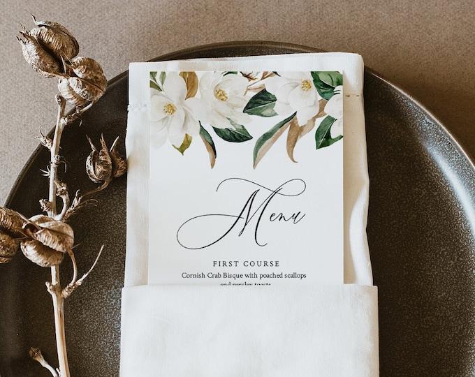 Magnolia Menu Template, Southern Wedding Menu Card, Printable DIY Dinner Menu, INSTANT DOWNLOAD, 100% Editable Text, Templett #015-179WM