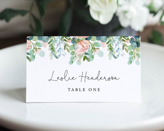Lush Garden Place Card Template, Printable Greenery Wedding Escort Card with Meal Option, INSTANT DOWNLOAD, Editable, Templett #068A-163PC