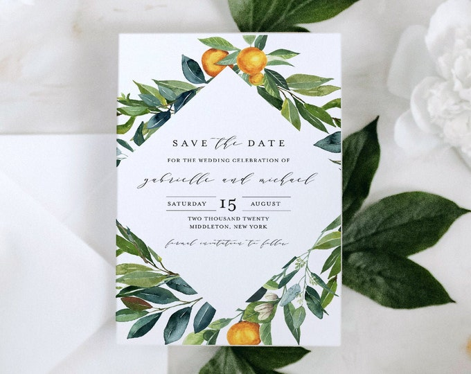 Save the Date Template, Printable Citrus Wedding Save the Date, Lemon, Orange, INSTANT DOWNLOAD, 100% Editable Text, Templett #084-158SD