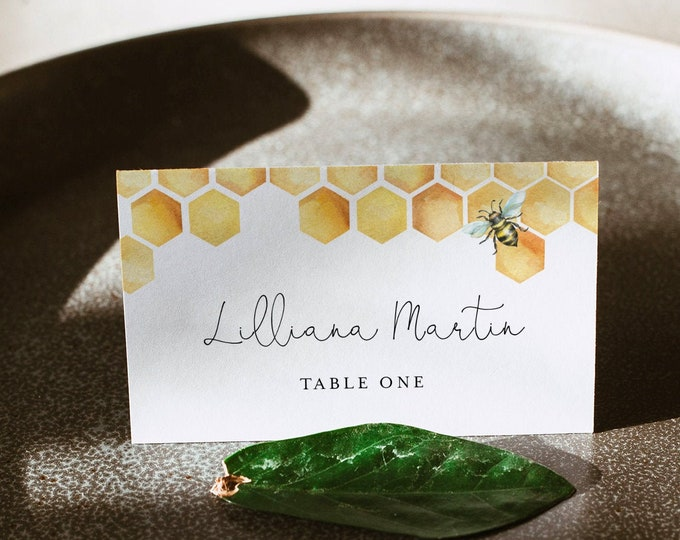 Honey Bee Place Card Template, Printable Honeycomb Wedding Escort Card & Meal Option, INSTANT DOWNLOAD, Editable, Templett #097-188PC