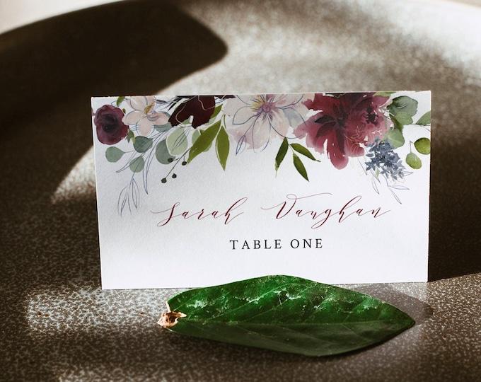 Wedding Place Card Template, INSTANT DOWNLOAD, Printable Escort Card, Burgundy, Merlot, Greenery, 100% Editable, Flat & Tent Card #040-116PC