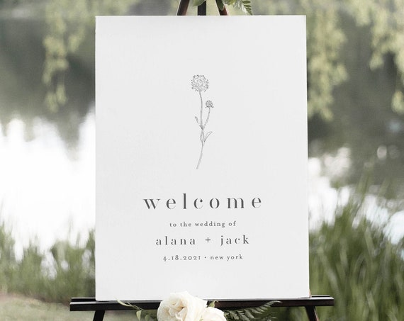 Wildflower Welcome Sign, Minimalist Wedding Poster, Dandelion, 100% Editable Template, Instant Download, Printable, Templett #0006A-208LS
