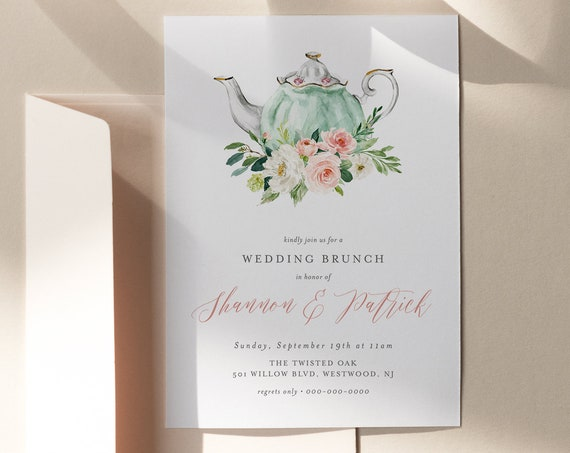 Wedding Brunch Invitation Template, Printable Post Wedding Tea Party Invite, Instant Download, Editable Text, Digital, TEMPLETT #085-106BR