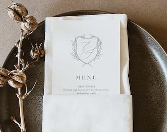 Wedding Crest Menu Template, Printable Minimalist & Modern Wedding Dinner Menu Card, 100% Editable, INSTANT DOWNLOAD, Templett #0007-187WM