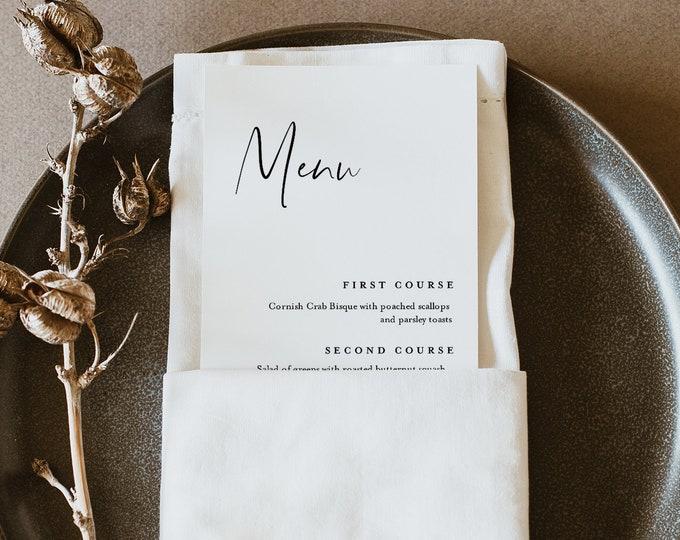 Modern Menu Template, Printable Minimalist & Simple Wedding Dinner Menu Card, 100% Editable, INSTANT DOWNLOAD, Templett #096-168WM