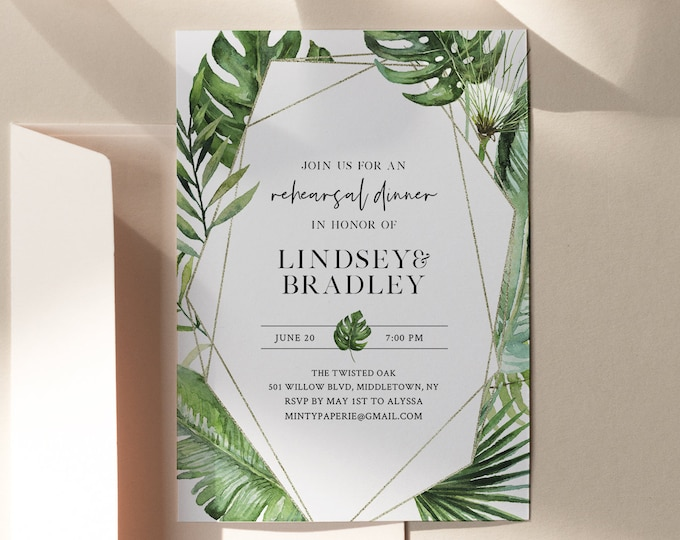 Tropical Gold Rehearsal Dinner Template, INSTANT DOWNLOAD, 100% Editable Text, Printable Palm Rehearsal Invite, Templett, DIY #083-144RD