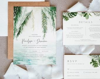 Beach Wedding Invitation Set, Tropical Destination Wedding Invite, RSVP and Details, Editable Template, INSTANT DOWNLOAD, Templett #099C