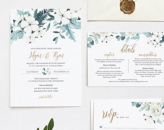 Winter Wedding Invitation Set, Cotton & Greenery, Eucalyptus, Pine, Editable Template, Details, RSVP, Instant Download, Templett #091B