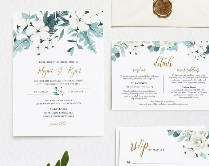 Winter Wedding Invitation Set, Cotton & Greenery, Eucalyptus, Pine, Editable Template, Details, RSVP, Instant Download, Templett #091B