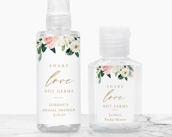 Printable Hand Sanitizer Label, Wedding, Bridal Shower Favor, Share Love Not Germs, Editable Template, Instant Download Templett 043-104HS