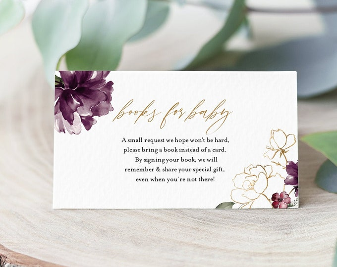 Books for Baby Card, Book Request, Baby Shower Invitation Book Insert, Purple Floral, 100% Editable Text, INSTANT DOWNLOAD #006-116BFB