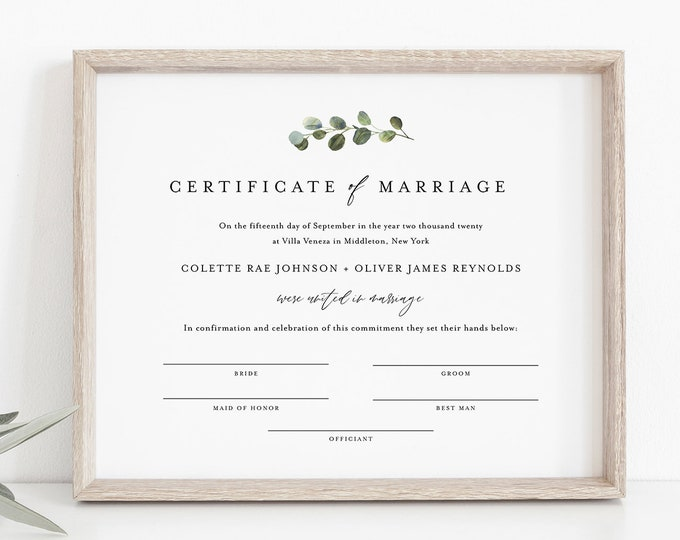 Greenery Certificate of Marriage, Wedding Certificate, Wedding Keepsake, Editable Text, Instant Download, 8x10, 16x20 #082-103MC