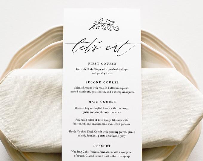 Minimalist Menu Card Template, Modern Rustic Dinner Menu, Wedding Menu Card Printable, 100% Editable, Instant Download, Templett #052-146WM