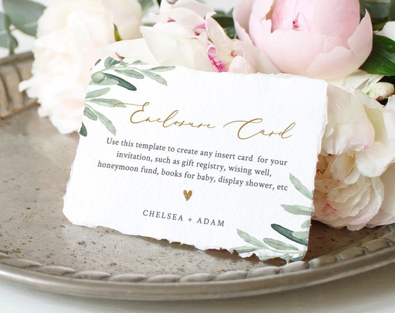Greenery Enclosure Card Template, Wedding, Bridal Shower, Baby Shower, Any Insert Card, 100% Editable Text, Registry, Book Request 081-134EC