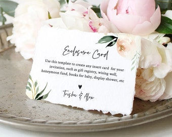 Enclosure Card Template, Wedding, Bridal Shower, Baby Shower, Create Any Insert Card, 100% Editable Text, Registry, Book Request #076-132EC