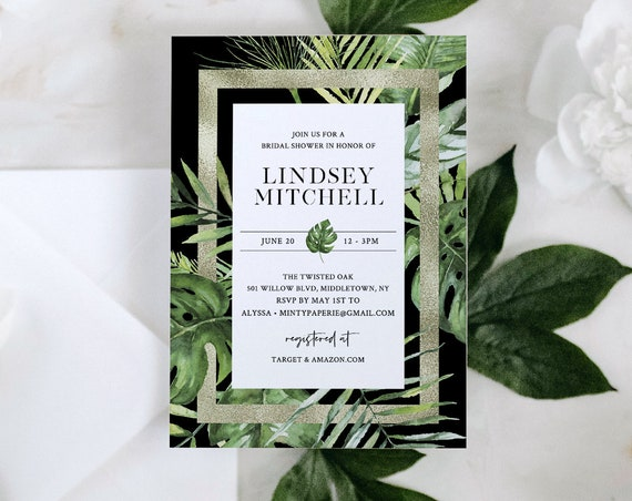 Tropical Bridal Shower Invite, Destination Beach Wedding, Couples Shower Invite Template, 100% Editable Text, Instant Download #083-234BS