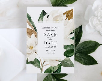 Magnolia Save the Date Template, INSTANT DOWNLOAD, Printable Southern Wedding Date Card, 100% Editable Text, Templett, 4x6 & 5x7 #015-150SD