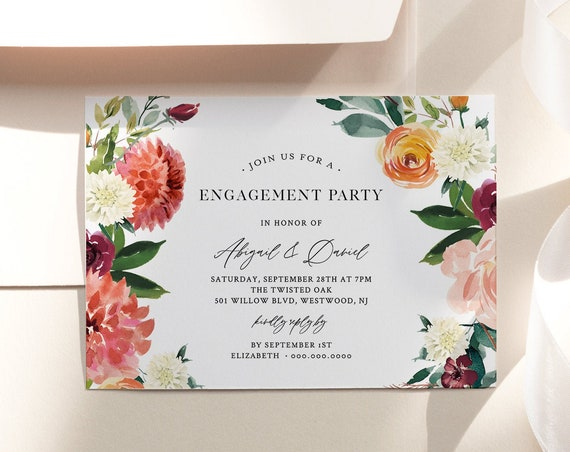 Engagement Party Invitation Template, Engaged Announcement Printable, INSTANT DOWNLOAD, 100% Editable Text, Orange & Red Floral #002-132EP