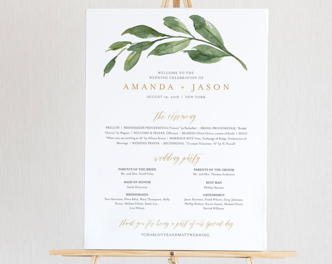 Wedding Program Sign Template, Order of Service / Events, 100% Editable Text, Ceremony Poster, Instant Download, DIY, Templett #067-147LS