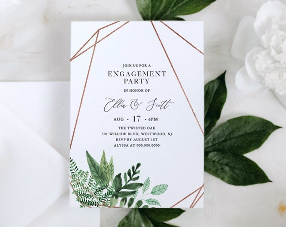 Printable Engagement Party Invitation Template, Greenery Engaged Announcement, INSTANT DOWNLOAD, 100% Editable Text, Templett #080-128EP